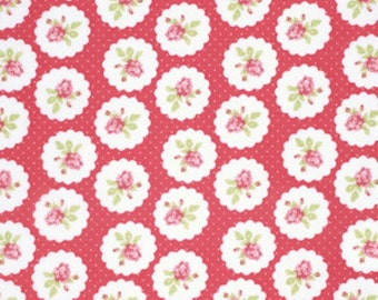 Free Spirit Fabric Tanya Whelan  LULU ROSES-LOTTI-Red  1 Yard Cut