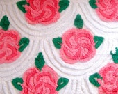 Fluffy Pink Cabbage Roses Floral Vintage Cotton Chenille Fabric 22 x 23 Inches