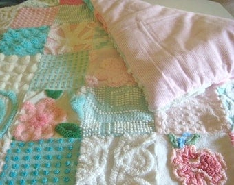 CUSTOM BABY QUILT Sample - Roses On The Garden Wall Vintage Cotton Chenille Quilt 36x36 Inches
