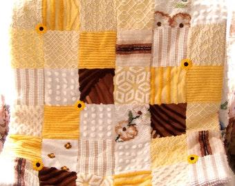 CUSTOM QUILT SAMPLE ~ Savannah Sunrise Vintage Cotton Chenille Quilt