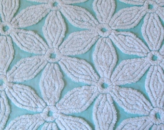 Aqua Hoffman Plush Floral  Vintage Cotton Chenille Bedspread Fabric 12 x 24 Inches
