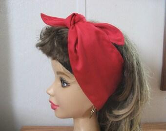 Hair Bandana, Rockabilly BANDANA, RED Hairscarf, Stars, Headband, Pinup, RETRO Style, 50s Head Wrap, Hair Tie,Beach #194