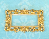 Rectangle Filigree Frame Raw Brass Stamping 48mm Handmade Journal Embellishment Jewelry Supplies Necklace Ornament Base Open Oblong (#14)
