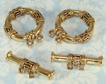 2 Chunky Gold Toggle Sets Big Multi Strand 2 Strand 30mm Double Clasp Jumbo (42687) Bulk Findings Jewelry Supplies for Necklace Bracelet