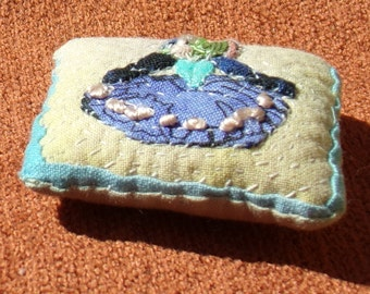 One Hand Stitched Pillow for Scale Dollhouse
