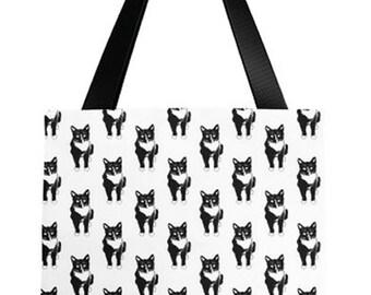 Tuxedo Cat Black And White Cat Pattern - Tote Bag