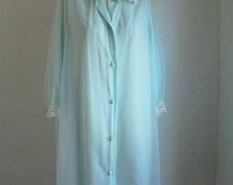 Mint blue chiffon and nylon peignoir