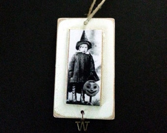 Witch Ornament Halloween Vintage Photo