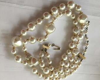Vintage Japanese 2 Strand Baroque Plastic Pearl Necklace