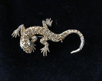 Vintage Amber Rhinestone Lizard Gecko Pin