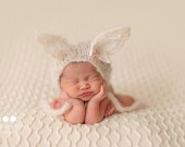 Bunny Mohair Bonnet Newborn Photo Prop Baby Boy Going Home Outfit Spring Knit Cap Easter Coming Home Hat Neutral Costume Girl Floppy Ears