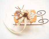 winter weddings ring bearer pillow, sled sleigh bearer pillow, rustic wedding, brown white weddings decor, sleigh cake topper, woodland