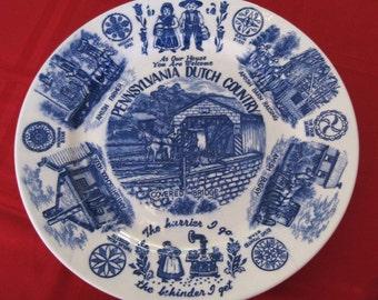 Vintage Pennsylvania Dutch Country Souvenir Plate Blue Transferware Made In Japan
