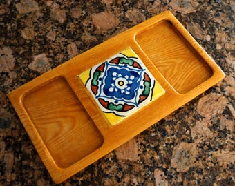 Vintage Serving Tray Wood Tile Georges Briard Cheese Board Hors d'Oeuvres Mid Century Modern