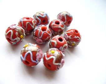 Vintage Lampwork Italian Glass Antique Beads Gold Red Pink