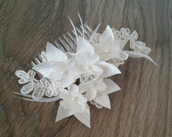Ivory Silk Satin Cherry Blossom and Beaded Lace Wedding Hair Comb with Feather and Pearl Accents