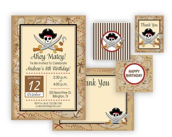 Pirate Invitation and party items printable - Digital files