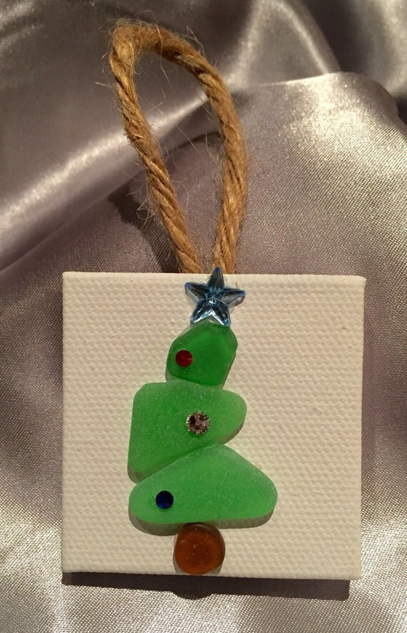 Genuine Sea Glass Christmas Tree Ornament By Aimeeseaglass