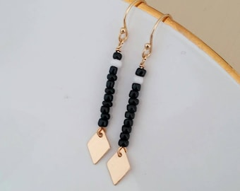 Black white and gold seed bead drop earring w/ gold diamond / #rhombus charm. Native trendy unique gold filled. Dangle. Gift. Boho chic