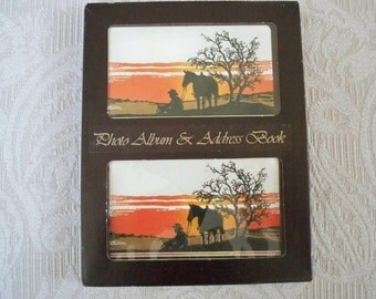 Vintage Book Photo Album and Address Book Western Theme Original Box