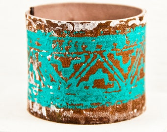 Leather Cuffs Turquoise Jewelry Gypsy Boho Bracelets Tribal Wristbands Wrist Cuff