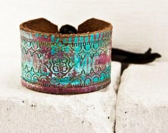 Boho Turquoise Jewelry - Leather Cuff Purple Bracelet - Gypsy Chic Women's Fashion - Any Occasion