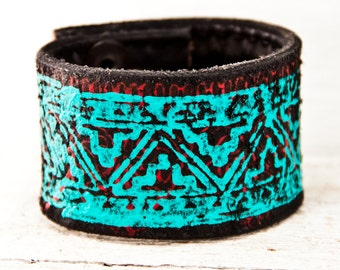 Turquoise Cuffs Bracelets - Tribal Native Geometric Indigenous Jewelry - Leather Wrist Bands - Indian Design