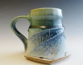 Salt Glazed Twisty Faceted Mug - Blue & Green