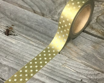 Washi Tape - 15mm - White Dots on Metallic Gold - Deco Paper Tape No. 971
