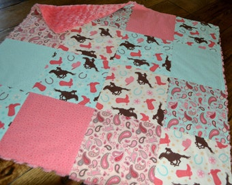 Cowgirl Baby Blanket Minky Pieced