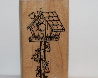 BIRDHOUSE with Ivy Rubber Stamp
