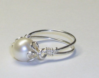 White Freshwater Pearl Ring, Purity Ring, Sterling Silver, Sweet Sixteen Gift