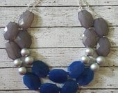 FREE EARRINGS Denim Blue, Grey, and Silver  Chunky Statement Bib Necklace...Purchase 3 or more get 10% off