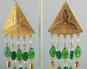 "Handcrafted Green Celtic Triple Knot Trinity / Triquetra 4 1/2"" Brass Chandelier OOAK Free Ship"