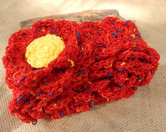 Crocheted Scarf with Flowers ~ Fiesta Red and Yellow Scarf with Flowers  ~  Crocheted Scarf  ~ Crocheted Winter Scarf  ~ Spring Scarf