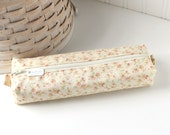 Pink and Cream Floral Cute Pencil Case Boxy Pouch Country Rosebuds Zipper Pouch