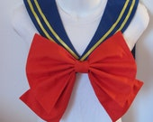 Royal Blue Collar With Yellow Ribbon and Red Bow Super Sailor Scout Moon Cosplay Costume Halloween