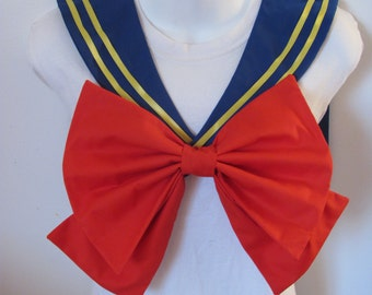 Royal Blue Collar With Yellow Ribbon and Red Bow Super Sailor Scout Moon Cosplay Costume
