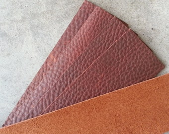 Leather Pieces for Cuffs or Bracelets- Mahogany- Real Leather - Lot No. 160702-G
