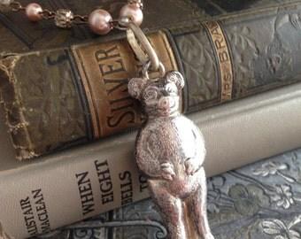 Vintage  Bear Baby Rattle Long Necklace, Boho, Vintage Assembled Antique Reconstructed