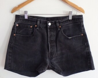 Levis 501 Shorts Vintage Black Button Fly