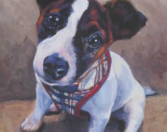 jrt Jack Russell Terrier dog art CANVAS print of LA shepard painting 11x14