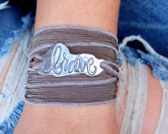 Brave Bracelet, Inspirational Silver Jewelry, Silk Wrap Bracelet, Braver Than You Believe, Graduation Gift, Bohemian Wrap Bracelet