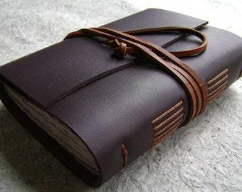 "Leather journal, 4"" x 6"", dark brown, handmade journal by Dancing Grey Studio(1597)"