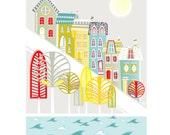 San Francisco Print, Skyline Wall Art, Cityscape Illustration, Poster, Home decor, Childs, Kids room, Nursery decor, Retro vintage