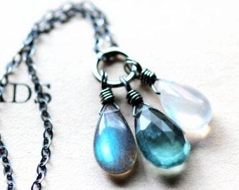 March Birthstone Necklace Aquamarine Labradorite Moonstone Necklace Silver Necklace  Nereids March Birthstone Jewelry Mythology Collection