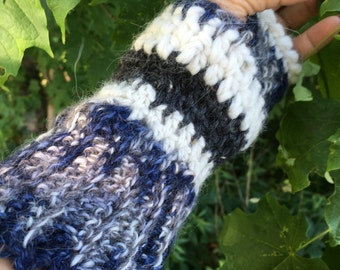 Fingerless Alpaca Mitts, Hand Crocheted, Navy, White, Grey, Matching Hat and Scarf Available