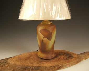 Earthtone ceramic table lamp  with shade in green leaf glaze, available by order nature themed