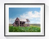Old Barn Painting Watercolor Print, Rustic Farm art Old farmhouse painting, watercolor painting of barns, landscape painting country artwork