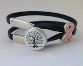 Tree of Life  Wishbone Clasp Breast Cancer Bracelet